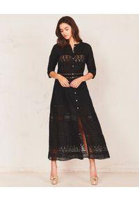 LOVE SHACK FANCY - Czarna sukienka maxi Beth. Kolor: czarny. Materiał: bawełna. Wzór: ażurowy. Typ sukienki: dopasowane, rozkloszowane. Długość: maxi