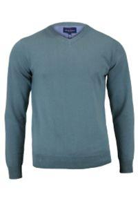 Szary sweter Adriano Guinari klasyczny, na spotkanie biznesowe, z dekoltem w serek