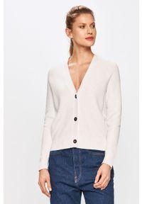 Biały sweter rozpinany Calvin Klein z długim rękawem, długi, gładki