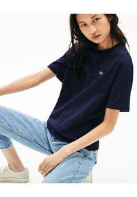 Niebieski t-shirt Lacoste elegancki, z haftami