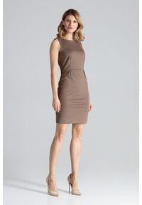 Figl - Dopasowana sukienka mini bez rękawa klasyczna mocca. Okazja: do pracy, na imprezę. Styl: klasyczny. Długość: mini #2