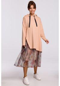 e-margeritka - Bluza długa z kapturem oversize beżowa - l/xl. Typ kołnierza: kaptur. Kolor: beżowy. Materiał: elastan, dzianina, materiał, bawełna. Długość: długie