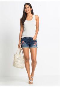 Niebieskie jeansy bonprix na lato, z haftami
