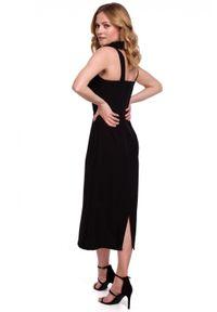 Makover - Dopasowana elegancka sukienka tuba. Okazja: na co dzień. Materiał: tkanina, elastan. Długość rękawa: na ramiączkach. Typ sukienki: proste, dopasowane. Styl: elegancki