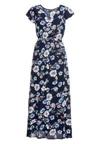 Długa sukienka z nadrukiem i falbanami bonprix ciemnoniebieski w kwiaty. Typ kołnierza: dekolt w serek. Kolor: niebieski. Wzór: kwiaty, nadruk. Długość: maxi