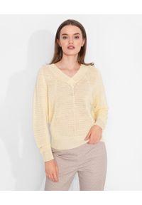 CAPPELLINI - Żółty sweter z lnu. Okazja: do pracy, na co dzień. Kolor: żółty. Materiał: len. Długość rękawa: długi rękaw. Długość: długie. Styl: casual