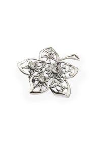 Srebrna broszka srebrna, z kryształem, w kwiaty