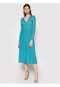 Pinko Sukienka dzianinowa Atleta PE 21 BLK01 1G15R6 Y6TC Niebieski Regular Fit. Kolor: niebieski. Materiał: dzianina