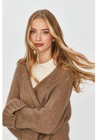 Beżowy sweter rozpinany Answear Lab wakacyjny, z długim rękawem