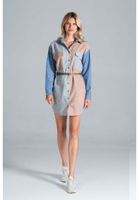 Figl - Koszulowa Sukienka z Kieszeniami - Szaro - Beżowy - Niebieski. Kolor: niebieski, beżowy, wielokolorowy, szary. Materiał: bawełna, poliester. Typ sukienki: koszulowe