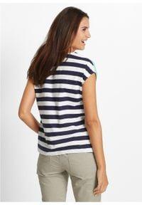 Shirt z przędzy mieszankowej, krótki rękaw bonprix niebieski mentolowy w paski. Kolor: zielony. Długość rękawa: krótki rękaw. Długość: krótkie. Wzór: paski. Styl: elegancki