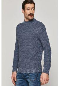 Niebieski sweter medicine casualowy, melanż, raglanowy rękaw