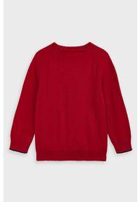Czerwony sweter Mayoral raglanowy rękaw, casualowy, z okrągłym kołnierzem, na co dzień
