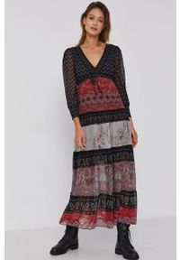 Desigual - Sukienka. Okazja: na co dzień. Materiał: włókno, tkanina. Długość rękawa: długi rękaw. Typ sukienki: proste. Styl: casual
