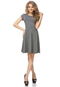 Tessita - Szara Sukienka Klasyczna Rozkloszowana z Mini Rękawkiem. Kolor: szary. Materiał: bawełna, poliester, elastan. Długość rękawa: krótki rękaw. Styl: klasyczny. Długość: mini