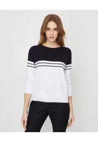 CAPPELLINI - Sweter w paski. Kolor: biały. Materiał: bawełna. Długość rękawa: długi rękaw. Długość: długie. Wzór: paski. Styl: elegancki, klasyczny