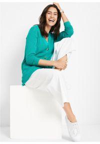 Sweter rozpinany w ażurowy wzór bonprix szmaragdowy. Kolor: zielony. Wzór: ażurowy #2
