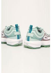 Miętowe buty sportowe Fila na sznurówki, z cholewką