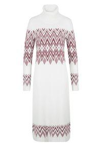 Długa sukienka dzianinowa w norweski wzór bonprix biel wełny w norweski wzór. Typ kołnierza: golf. Kolor: biały. Materiał: akryl, dzianina, materiał, wełna. Długość: maxi