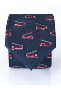 Modini - Granatowy krawat męski - wozy strażacki, dla strażaka D176. Kolor: niebieski. Materiał: tkanina, mikrofibra