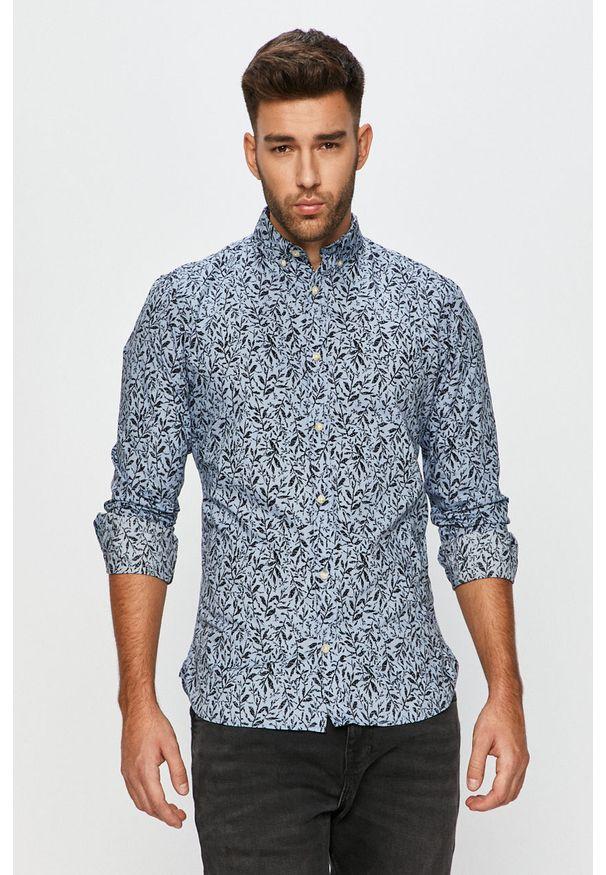 Niebieska koszula PRODUKT by Jack & Jones na co dzień, długa, casualowa, z długim rękawem