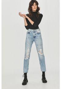 Czarna bluzka z długim rękawem Answear Lab z golfem, gładkie, na co dzień, wakacyjna