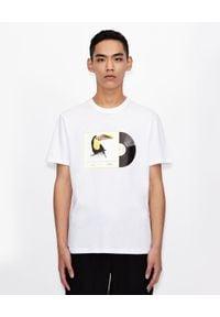 Armani Exchange - ARMANI EXCHANGE - Biały T-shirt z tukanem. Okazja: na co dzień. Kolor: czarny. Materiał: jeans, bawełna. Wzór: nadruk. Styl: casual