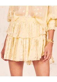 LOVE SHACK FANCY - Jedwabna spódnica w gwiazdki. Kolor: żółty. Materiał: jedwab. Wzór: aplikacja. Sezon: lato