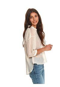 TOP SECRET - Koszula damska w kratkę z dłuższym tyłem. Kolor: biały. Długość: długie. Wzór: kratka