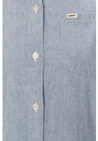 Niebieska koszula Lee z długim rękawem, na co dzień, gładkie, klasyczna