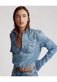 Ralph Lauren - RALPH LAUREN - Jeansowa koszula. Typ kołnierza: polo. Kolor: niebieski. Materiał: jeans. Długość rękawa: długi rękaw. Długość: długie