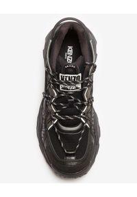 Kenzo - KENZO - Czarne sneakersy Inka. Nosek buta: okrągły. Kolor: czarny. Materiał: tkanina, guma, zamsz. Wzór: aplikacja