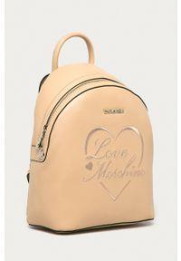 Love Moschino - Plecak. Kolor: beżowy. Wzór: aplikacja