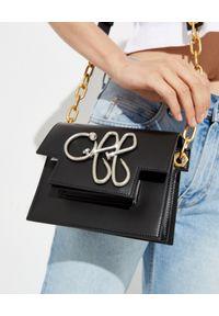 OFF-WHITE - Skórzana torebka na ramię. Kolor: czarny. Wzór: aplikacja. Dodatki: z aplikacjami. Materiał: skórzane. Rodzaj torebki: na ramię