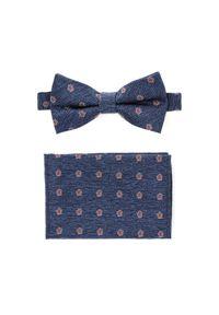 Lancerto - Mucha Niebieska w Kwiatki Plus Poszetka. Kolor: niebieski. Materiał: tkanina, mikrofibra, jeans. Wzór: kwiaty