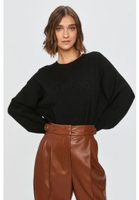 Czarny sweter Guess Jeans z okrągłym kołnierzem, z długim rękawem, długi