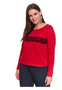 TOP SECRET - Damski t-shirt z rękawem 3/4 i aplikacją. Okazja: na co dzień. Kolor: czerwony. Materiał: dzianina, bawełna, elastan. Długość rękawa: krótki rękaw. Wzór: aplikacja. Sezon: zima, jesień. Styl: casual