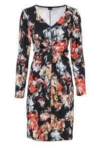 Sukienka z dżerseju z nadrukiem, długi rękaw bonprix czarny w kolorowe kwiaty. Typ kołnierza: dekolt w serek. Kolor: czarny. Materiał: jersey. Długość rękawa: długi rękaw. Wzór: kwiaty, kolorowy, nadruk