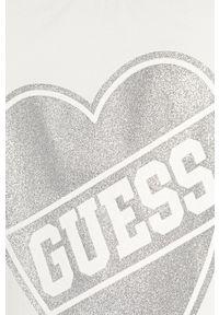Biała bluzka z krótkim rękawem Guess Jeans z nadrukiem, na co dzień, casualowa