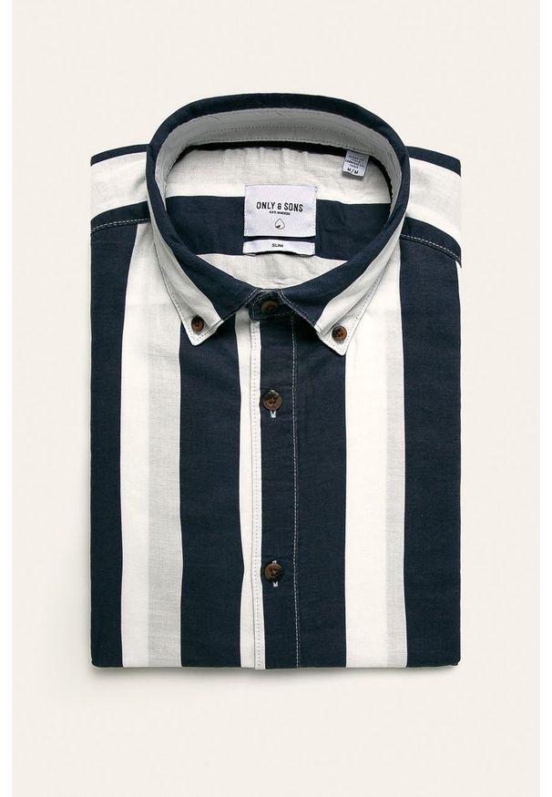 Niebieska koszula Only & Sons na co dzień, button down, casualowa, długa