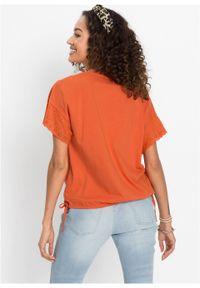 Pomarańczowa bluzka bonprix z haftami