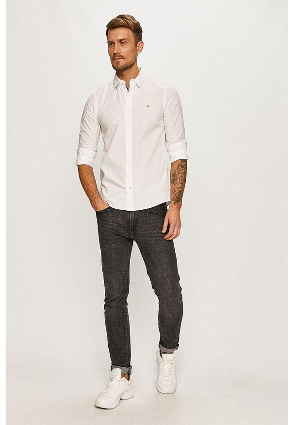 Biała koszula Calvin Klein z długim rękawem, długa, casualowa, na co dzień