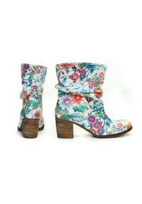 Botki Zapato w kwiaty, na spotkanie biznesowe, z okrągłym noskiem, eleganckie