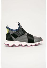 Szare buty sportowe sorel z okrągłym noskiem, z cholewką, na rzepy