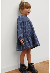 Niebieska sukienka Mango Kids z okrągłym kołnierzem, oversize, z długim rękawem, mini