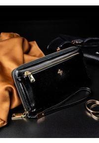 MILANO DESIGN - Portfel damski na zamek czarny Milano Design. Kolor: czarny. Materiał: skóra. Wzór: motyw zwierzęcy, gładki