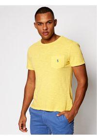 Polo Ralph Lauren T-Shirt Slub 710795137015 Żółty Slim Fit. Typ kołnierza: polo. Kolor: żółty