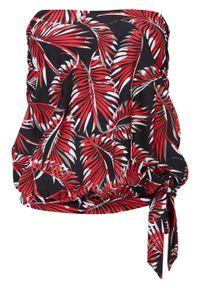 Top tankini oversize bonprix czarno-czerwono-biały. Kolor: czarny