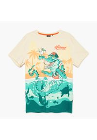 Cropp - Koszulka z nadrukiem - Kremowy. Kolor: kremowy. Wzór: nadruk