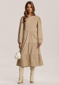 Renee - Beżowa Sukienka Kelera. Kolor: beżowy. Długość: midi
